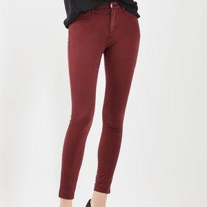 Topshop Moto Leigh Burgundy Skinny Jeans